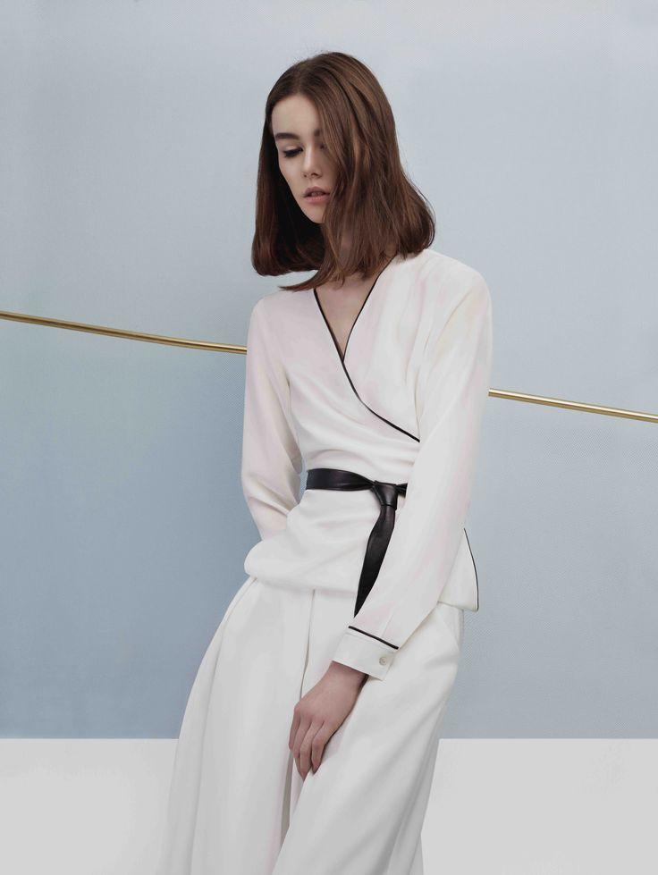 Wrap silk shirt with leather belt and leather pipe details #sankt #wearesankt #silk #shirt #leather #detail #belt #minimalist #elegant