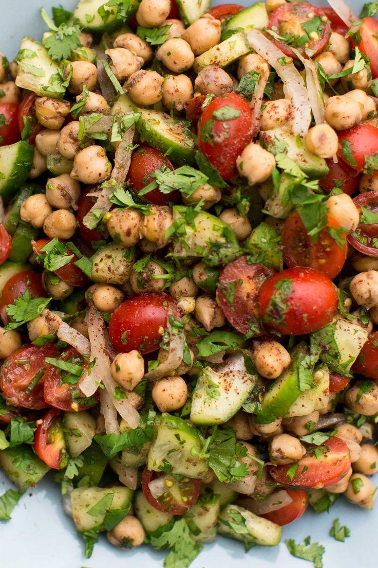 Sumac Spiced Chickpea Cucumber Salad