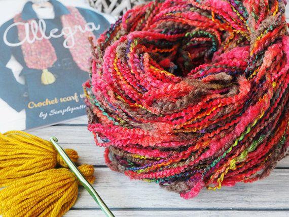 CROCHET KIT  ALLEGRA crochet scarf with tassels beginner