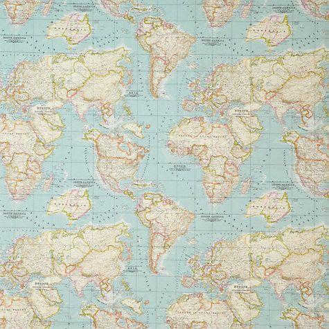 Buy John Lewis World Map Furnishing Fabric, Blue Online at johnlewis.com