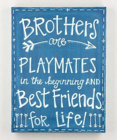 Look what I found on #zulily! Blue 'Brothers' Wrapped Canvas #zulilyfinds