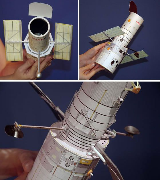 Our intrepid space-beat reporter Rachel Hobson spotted these cool model Hubble Telescopes on the Hubble website: There are three versions: a PVC pipe versi