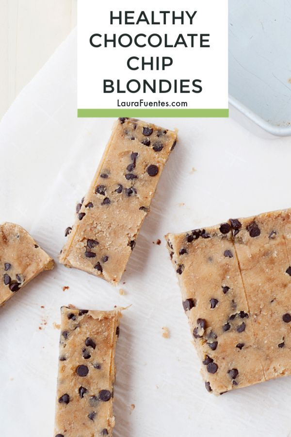 These no-bake Chocolate Chip Blondies are delicious and guess what? They are hea…