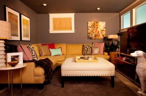 basement small space: Decor, Interior Design, Color, Living Room, Family Room, Basement Ideas, Basements, Small Basement