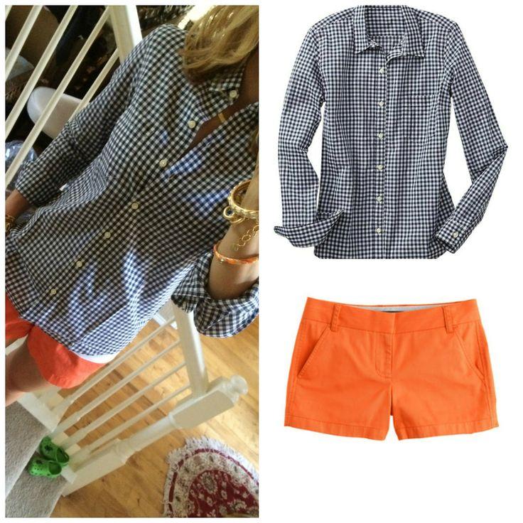 Navy gingham and orange shorts
