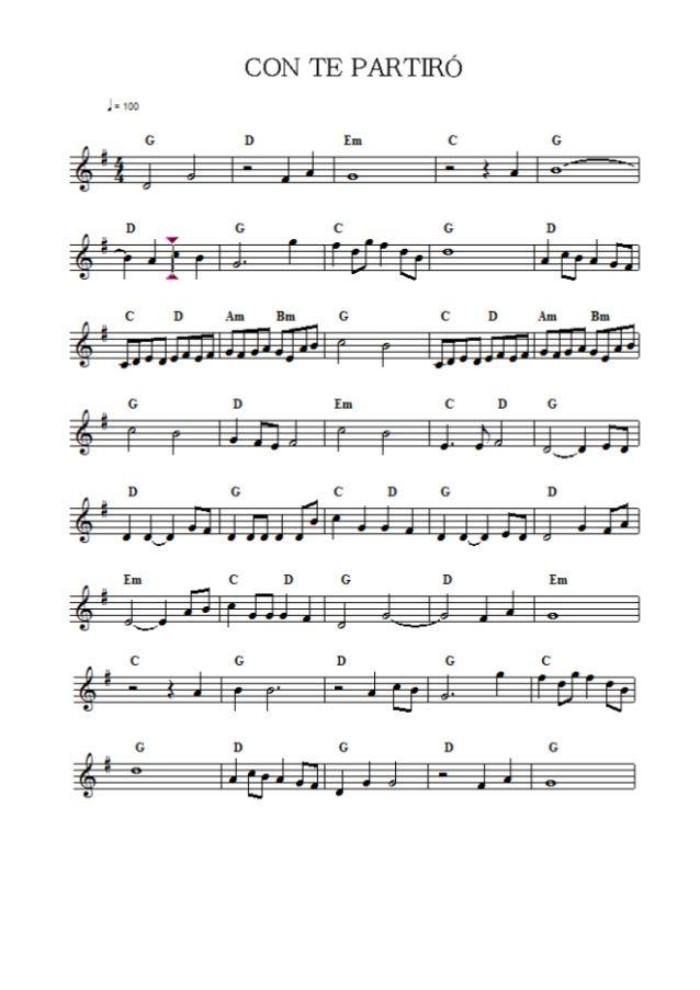 Andrea Bocelli Con Te Partiro Com Imagens Partituras Violino