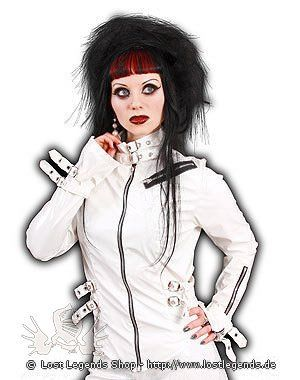 Lovesect White Buckle Blouse Weisser Lack | Gothic Kleidung | Damenoberteile