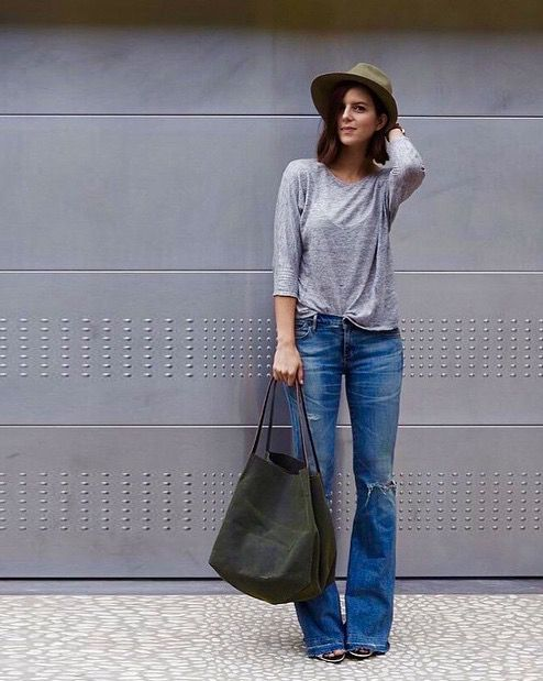 flared jeans + fall hat