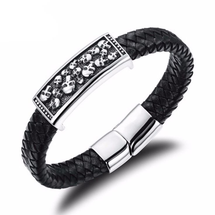 Black Braided Leather  Bracelet With Skulls and Stainless Steel Magnetic Buckle