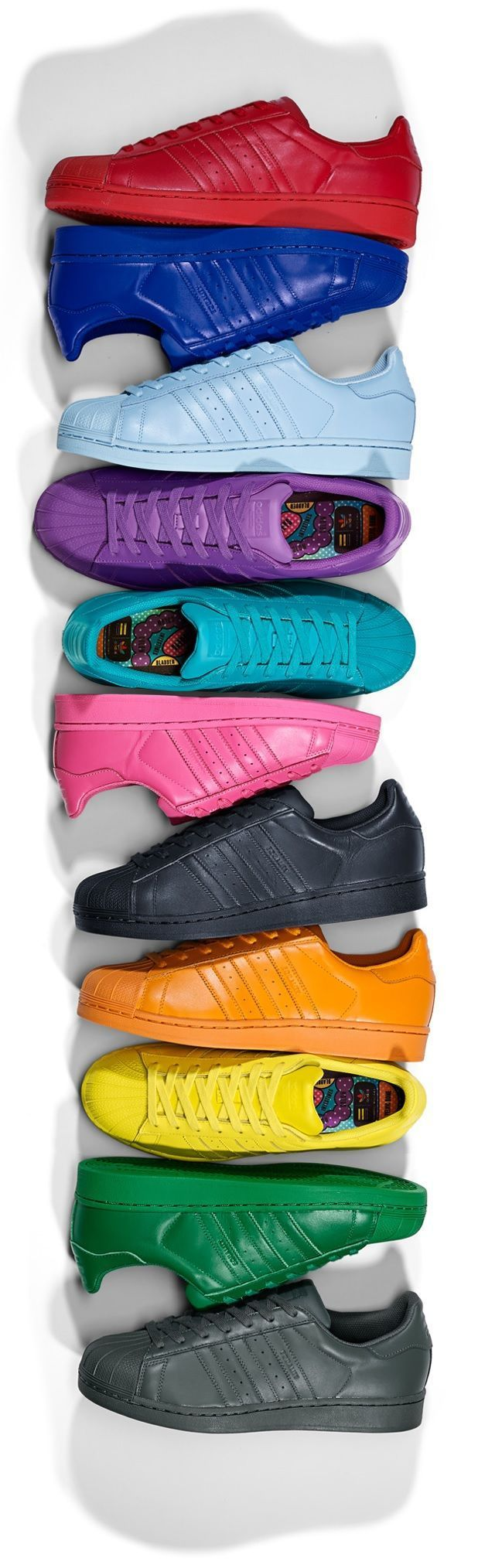 Pharell Williams x adidas Originals Superstar Supercolor Pack. Lookin good all together.