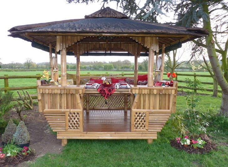 Luxury Handmade Bamboo Gazebo Thatched Roof And Fixed