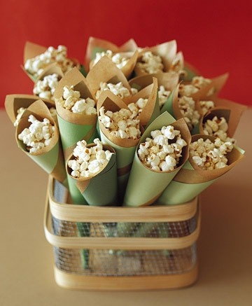 popcorn or a pub mix served in cones for dance floor snacking