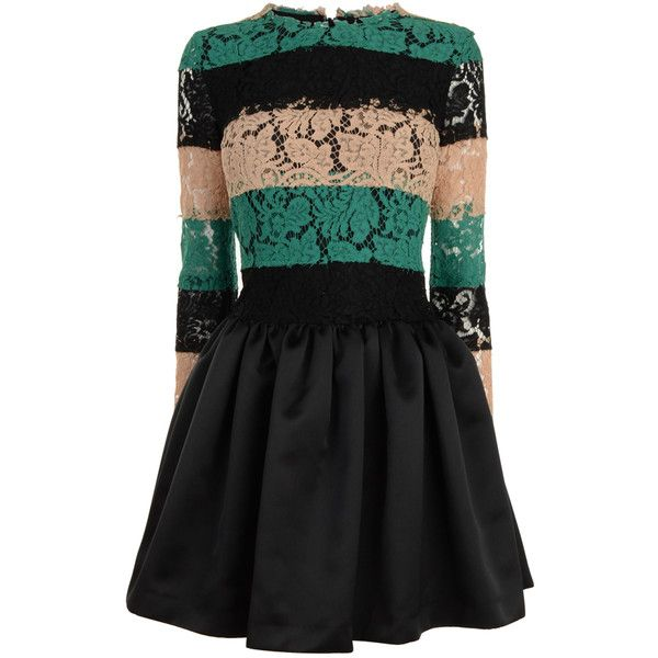 MSGM Lace Stripe Satin Skirt Dress ($985) ❤ liked on Polyvore