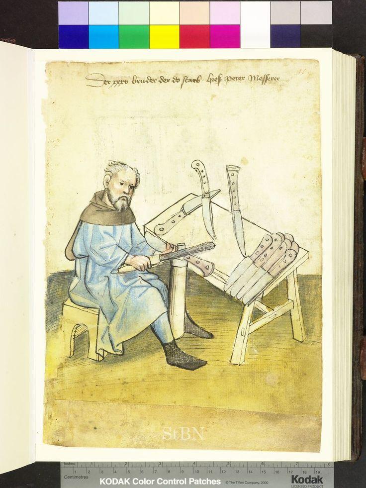 El cuchillero Peter († vor 1414). Mendelsche Zwölfbrüderhausstiftung Stadtbibliothek Nürnberg Amb. 317.2° Folio 15 recto (Mendel I)