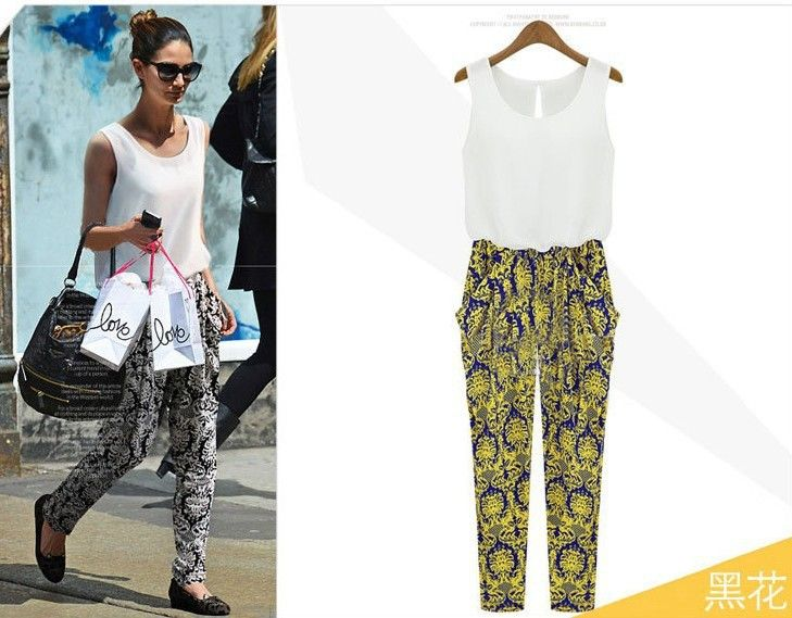 2013 New summer  Fashion High quality Women Print Jumpsuits sleeveless garment haroun pants Overall 643 $20.80