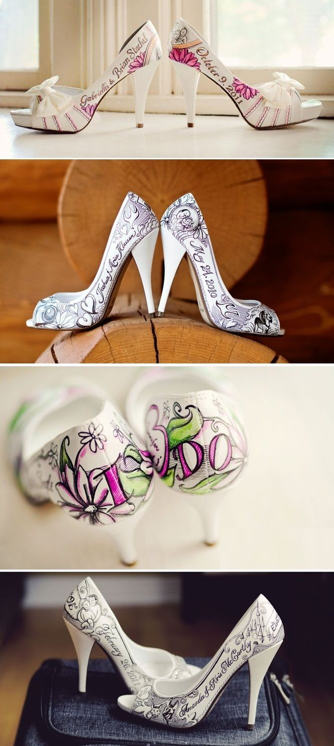 Personalized wedding shoes! This is cute and SO unique!!
