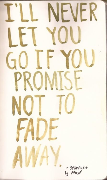 One of my fave Songlyric -lines<3  (I'll never let you go if you promise not to fade away - Muse - Starlight)