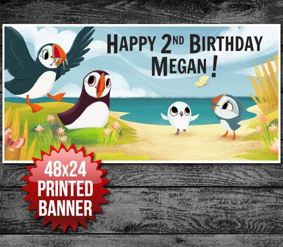 Puffin Rock Custom Personalized Birthday Banner Decoration in Home & Garden, Greeting Cards & Party Supply, Party Supplies   eBay