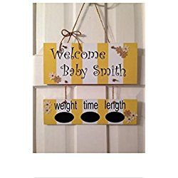 Personalized Hospital Door Hanger Announcement for baby boy or girl