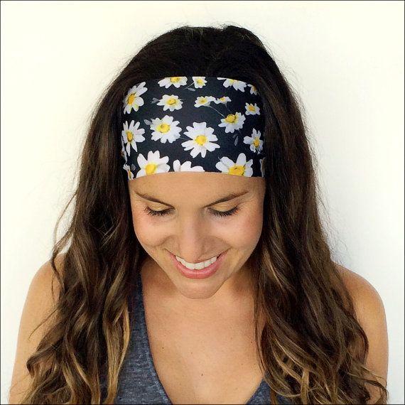 Yoga serre-tête - bandeau de remise en forme - Daisy Print - serre-tête - bandeau d'entraînement - anti dérapant bandeau en cours d'exécution