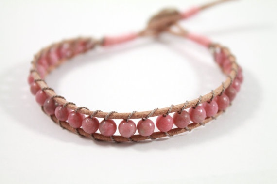 Natural Rhodonite Bead Wrap Bracelet by thelipstickdiaries, £26.00  #Etsy #Rhodonite #bead #bracelet #shop #etsyshop #beauty #style #jewellery