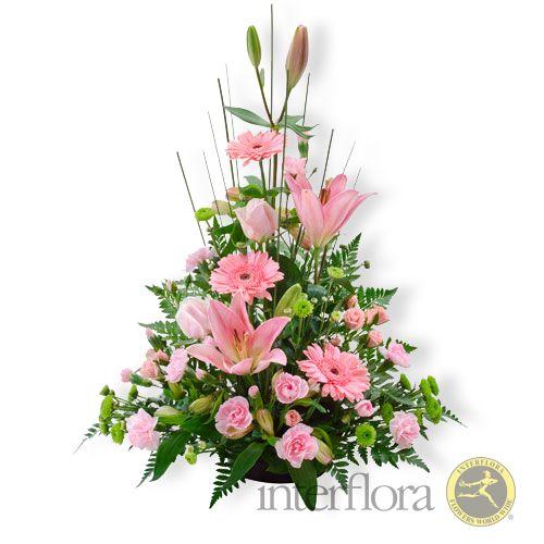 {Beloved} traditional bowl arrangement pink rose, gerbera  lily