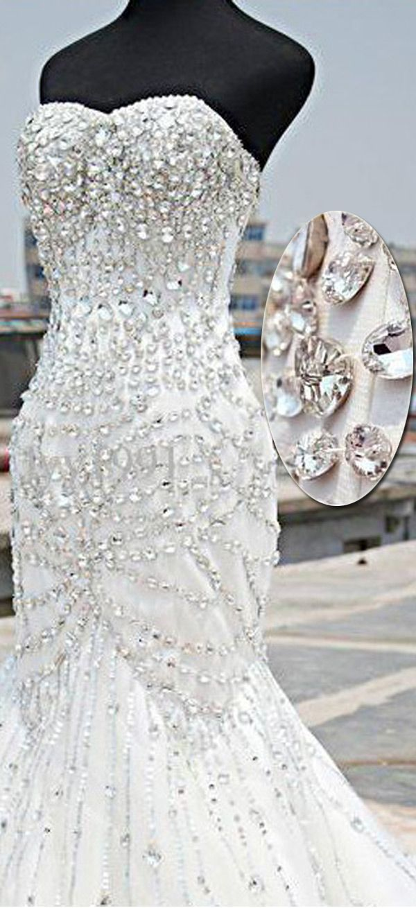 Sparkling Tulle & Satin Sweetheart Neckline Mermaid Wedding Dresses With Beadings & Rhinestones