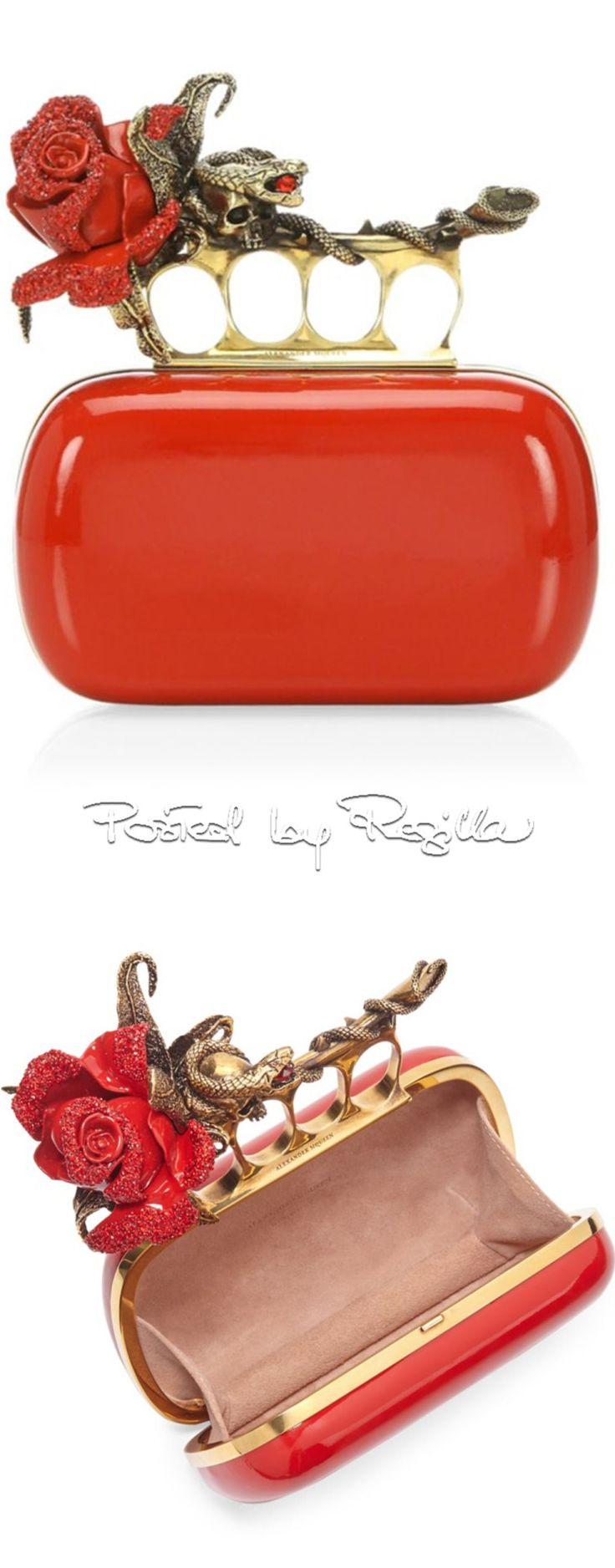 Regilla ⚜ Alexander McQueen, Red Rose Four Ring Clutch