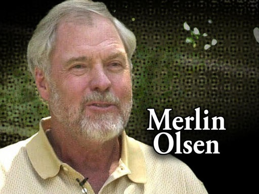 """Merlin Olsen ~""""Merlin Jay Olsen (September 15, 1940 – March 11, 2010) was an American football player in the National Football League, NFL commentator, and actor. He played his entire 15-year career with the Los Angeles Rams and was elected to the Pro Bowl in 14 of those seasons, a current record shared with Bruce Matthews. He is a member of the Pro Football Hall of Fame and the College Football Hall of Fame. As an actor he portrayed the farmer Jonathan Garvey on Little House on the…"""