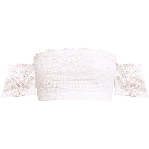 Alisia Cream Lace Bandeau Crop Top ($26) ❤ liked on Polyvore featuring tops, bandeau crop top, cream crop top, lacy tops, cropped tops and lacy white top