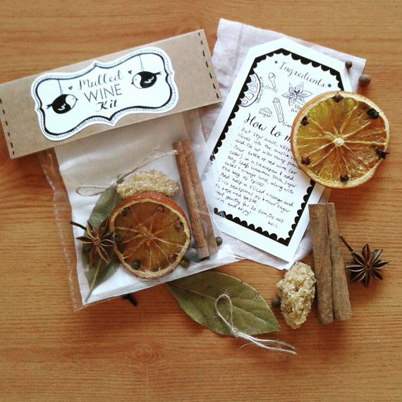 2x Christmas Mulled Wine / Cider Spices Kits Gift with Muslin and String (Handmade) 4 designs