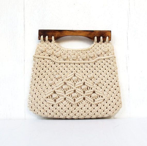 vintage folk macrame handbag purse philippines by DrVintage, $16.50