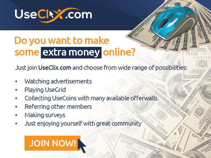 Now you have great opportunity to make some extra cash online, sitting in the front of your computer! UseClix pays you to watch advertisements and make tasks on the site. Earn with your computer at home Guaranteed daily ads Enchanced statistics Upgrade opportunities Instant payments