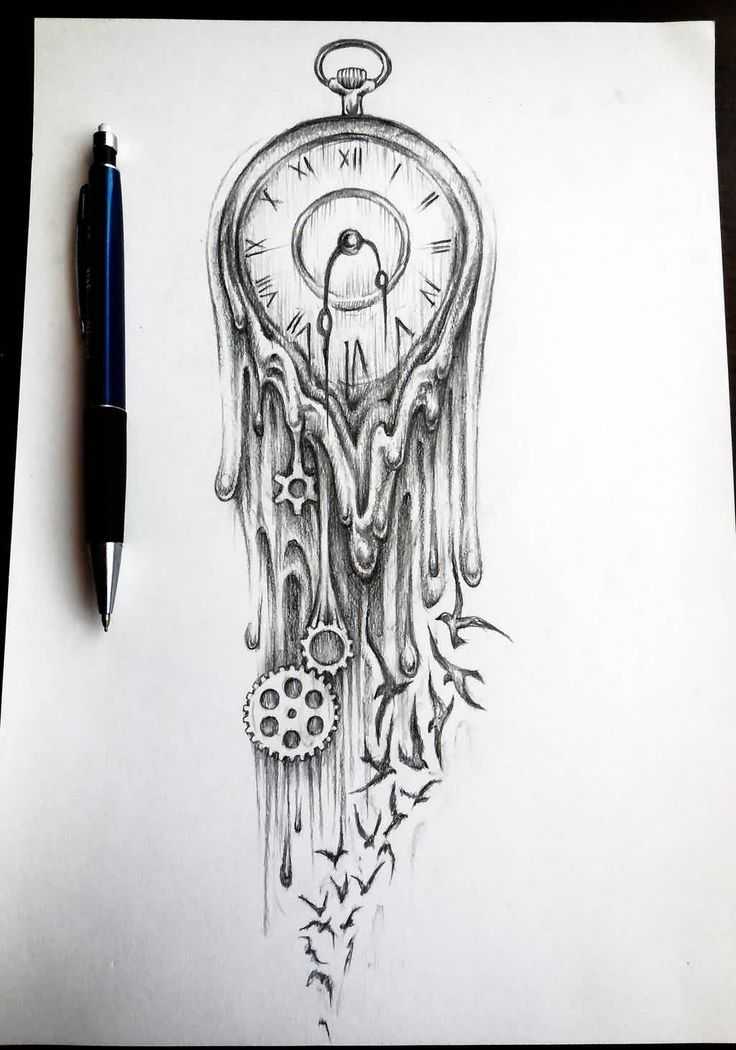 Melting Clock And Bird Tattoos Sketch Stunning piece of art. I wonder how it'd look with semi-open books vs the birds?