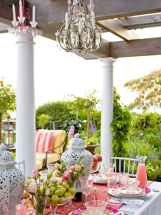 Add Garden Glamour : Bring a bit of bling to your outdoor room with a crystal chandelier or two over your dining table. If you don't have the means to hot-wire electrical fixtures, drape them instead with battery-operated twinkle lights. Another option: chandeliers that use a battery-operated taper candle in each arm of the fixture.