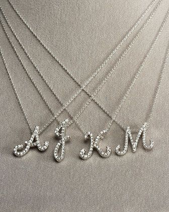 Diamond Initial Necklace by Roberto Coin at Bergdorf Goodman. JJ push present?