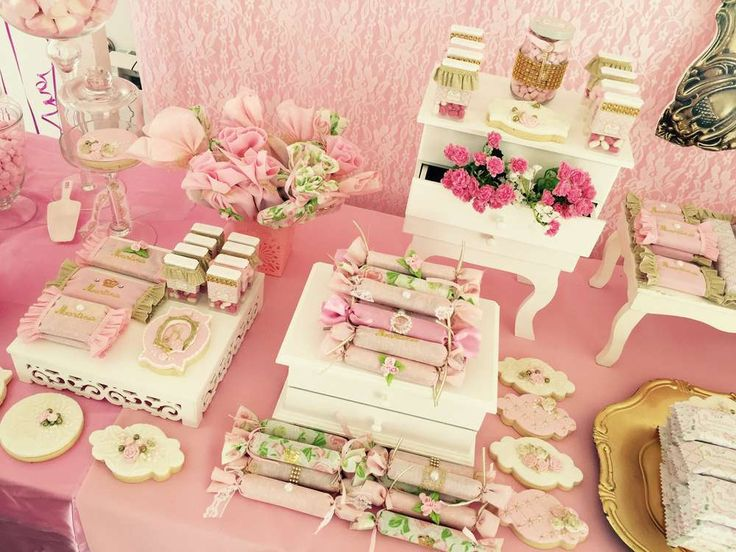 Dessert table at a fairy shabby chic birthday party! See more party ideas at CatchMyParty.com!