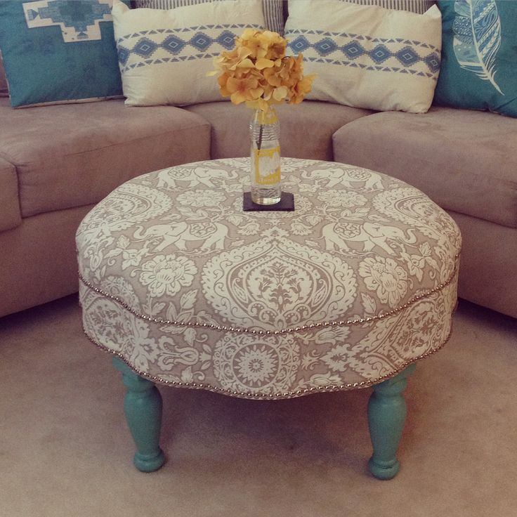 Turquoise Ottoman With Indian Inspired Fabric And Nailhead