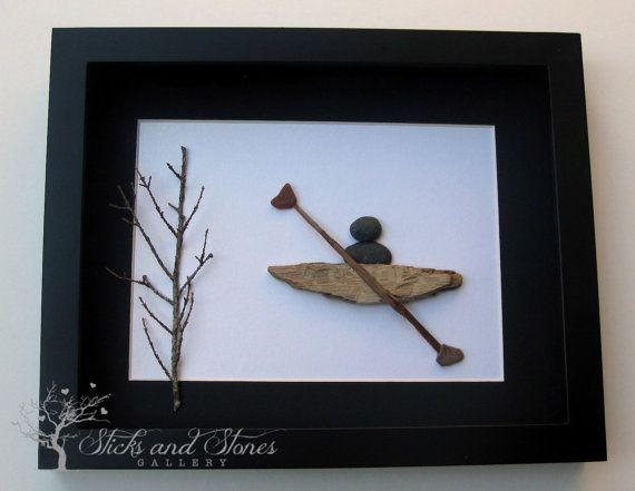 Unique Nautical Themed Artwork - Pebble Art - Kayak Themed Art -  Kayak Stone Art on Etsy, $85.00 CAD