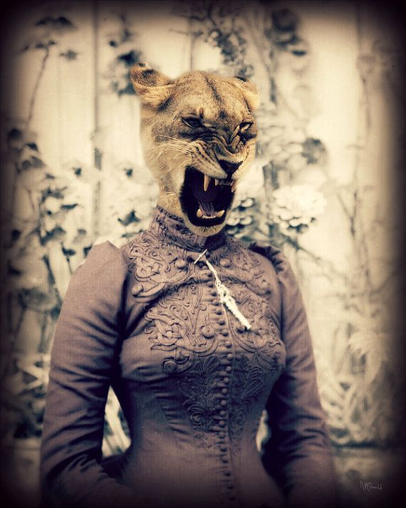 "Cat Art Print, Lion, Wildlife, Collage, Anthropomorphic, Animal Photography, Victorian Steampunk, Surreal, ""Never Keep A Lady Waiting"""