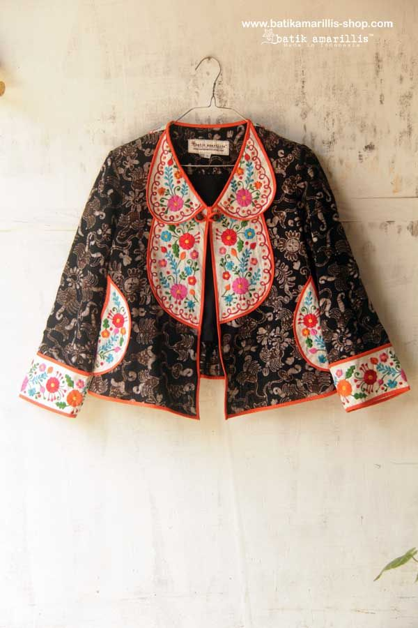 Batik Amarillis Made in Indonesia : proudly Presents..... Batik Amarillis's petit bon bon jacket 2015♥ ♥ made in Tenun Batik gedog Tuban of Indonesia & mexican embroidery...lovely & fun! is how to describe Batik Amarillis's Petit Bon Bon Jacket ,accented with yoke,cute croissant pockets,pretty bow and a little flared peplum at the back!
