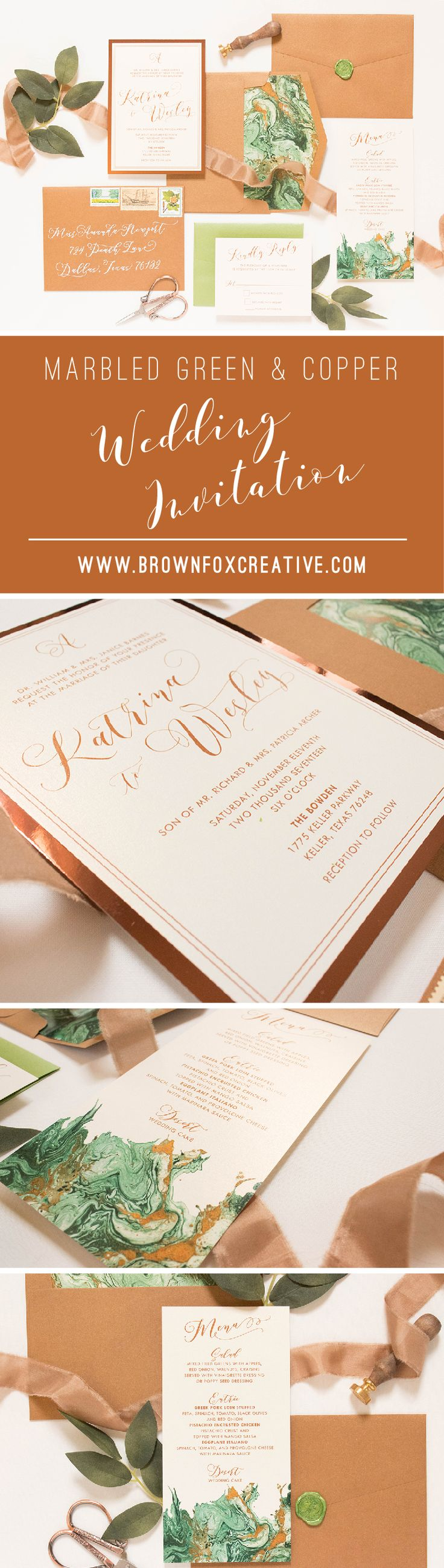 how to address wedding invitations inside envelope%0A Shades of Green  u     Copper Marble  Rose Gold and Ivory Wedding Invitation  u      Includes Envelope