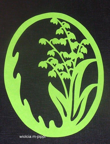 Muguet. Could do this in a frame... could do it in white with pink background (or opposite) then paint the green in...