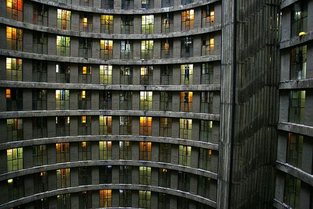 The 54-story (567.6 ft or 173 m) high Ponte City Apartments, Johannesburg, South Africa, designed by Manfred Hermer, opened in 1975