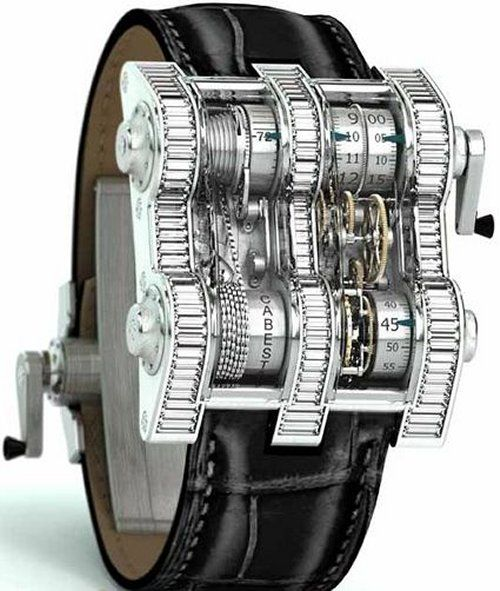 Spending a few grand on a watch is ridiculous. Spending $400K takes it to a whole other crazy level. $400K is what the Cabestan Winch Tourbillion watch will cost you. From afar it sort of resembles a weird fishing rod reel, but up close, you can see the amazing workmanship.  We're talking 1352 components driven by a 450 link chain and nickel silver drums in horizontal precision. How cool is that? Still, it's like buying a house for your wrist.