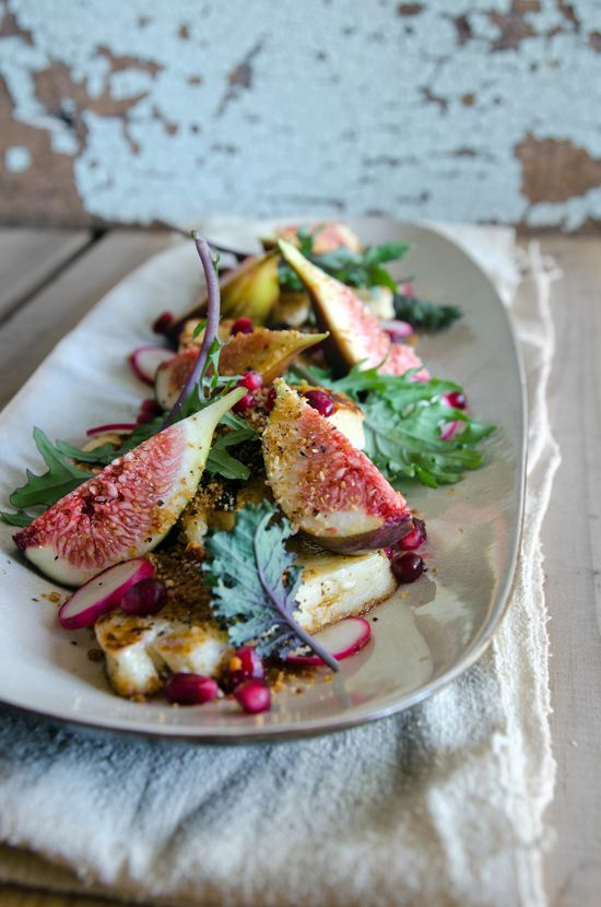 pan-fried haloumi with fig + pomegranate salad
