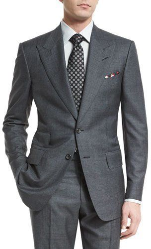 Tom Ford Windsor Base Peak-Lapel Irregular-Check Suit, Charcoal