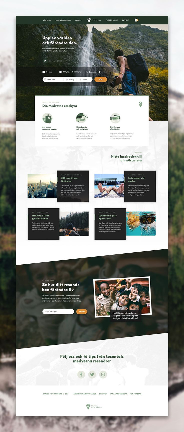 Eco tourism and responsible travel web design. Website for a green traveling agency - Changing the way we travel the world.