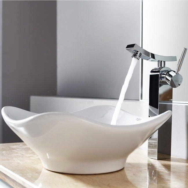 Bathroom Combos Tulip Ceramic Bathroom Sink With Single Handle Single Hole  Faucet