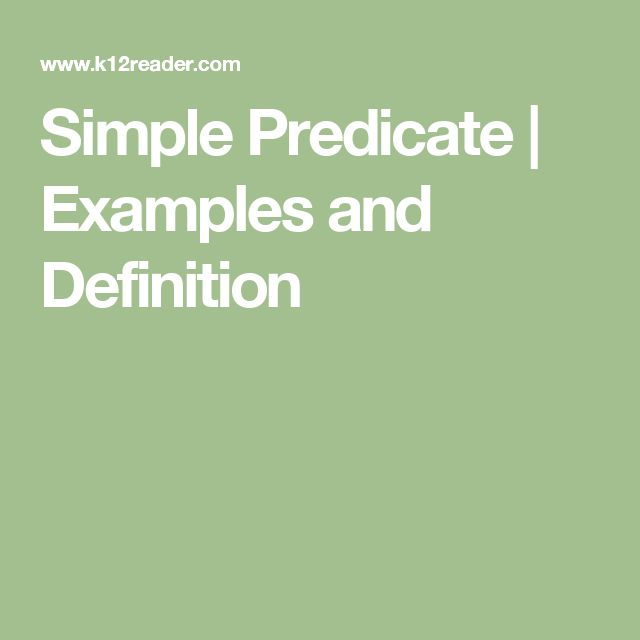 Simple Predicate | Examples and Definition